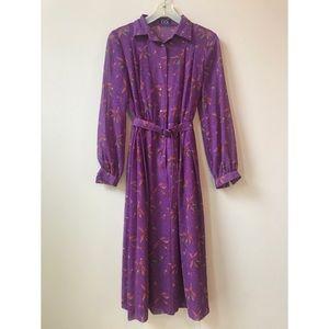 50s, 60s vintage violet spring dress with belt